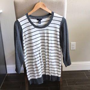 Gray and white stripe GAP sweater.